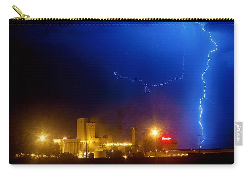 Budweiser Carry-all Pouch featuring the photograph To The Right Budweiser Lightning Strike by James BO Insogna