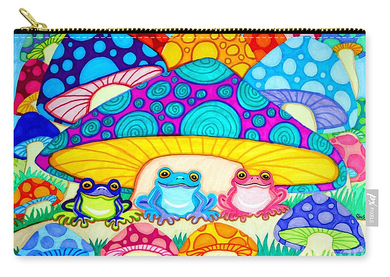 Toads Carry-all Pouch featuring the drawing Toads And Toad Stools by Nick Gustafson