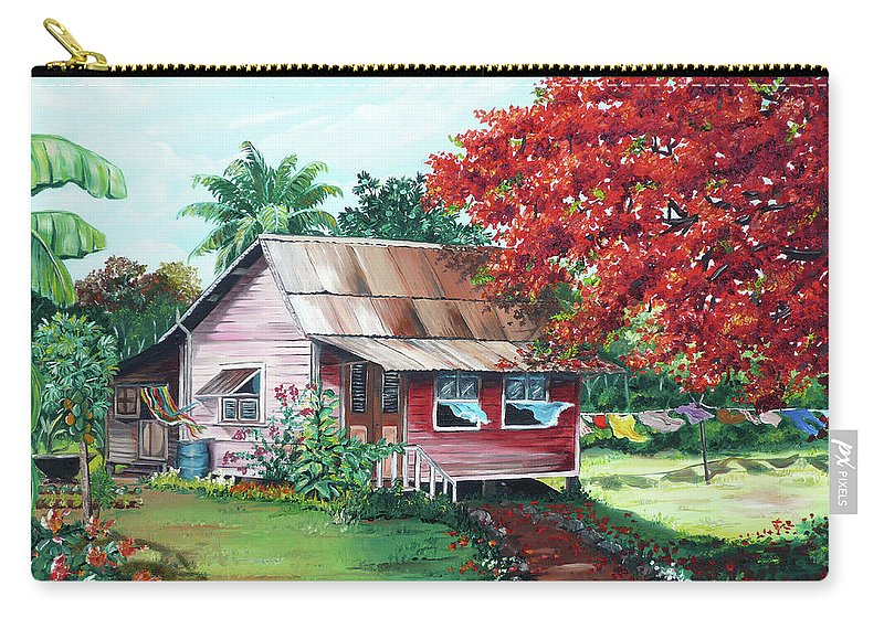 House Painting Carry-all Pouch featuring the painting Tobago Country House by Karin Dawn Kelshall- Best