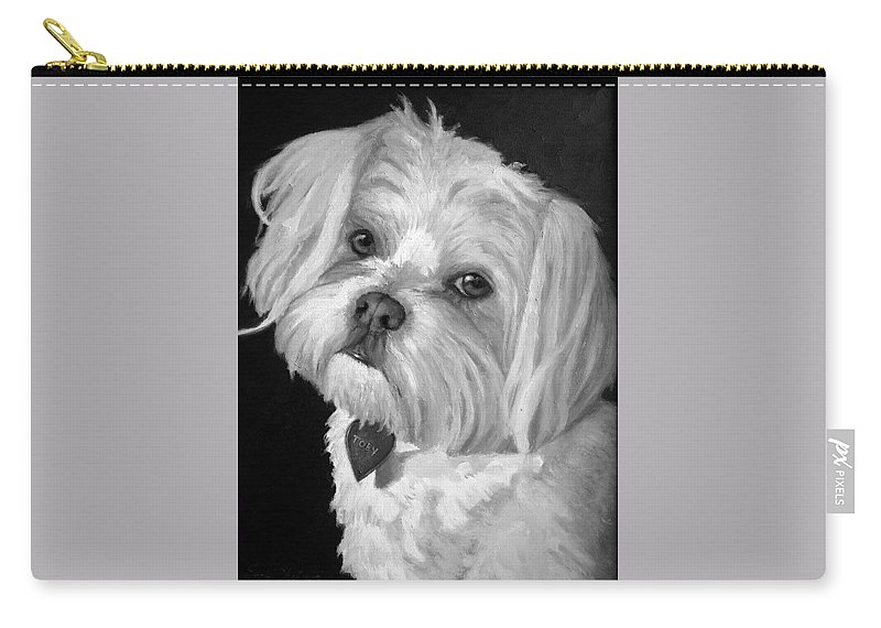 Dogs Carry-all Pouch featuring the painting Toby by Portraits By NC