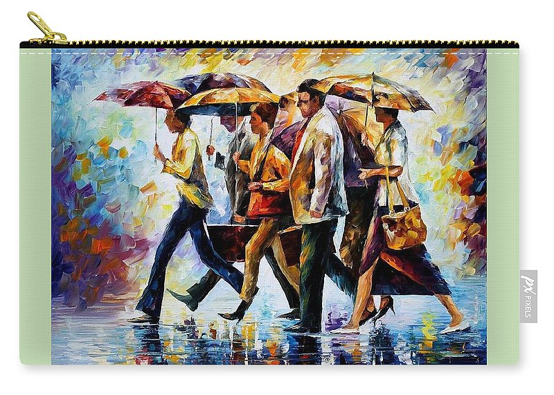 Afremov Carry-all Pouch featuring the painting Today I Forgot My Umbrella... by Leonid Afremov