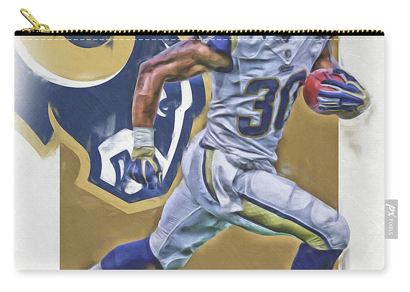 Todd Gurley Carry-all Pouch featuring the mixed media Todd Gurley Los Angeles Rams Oil Art by Joe Hamilton