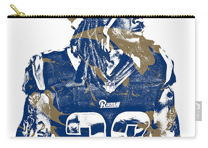 Todd Gurley Carry-all Pouch featuring the mixed media Todd Gurley Los Angeles Rams Pixel Art 26 by Joe Hamilton