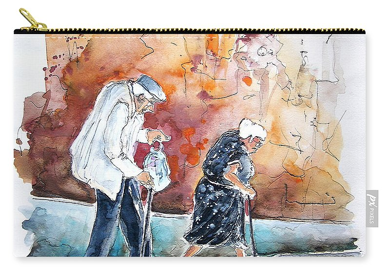 Portugal Paintings Carry-all Pouch featuring the painting Together Old In Portugal 01 by Miki De Goodaboom