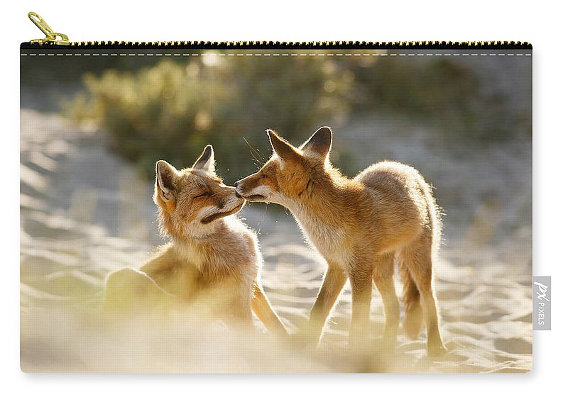 Fox Carry-all Pouch featuring the photograph Togetherness - Mother And Kit Moment by Roeselien Raimond