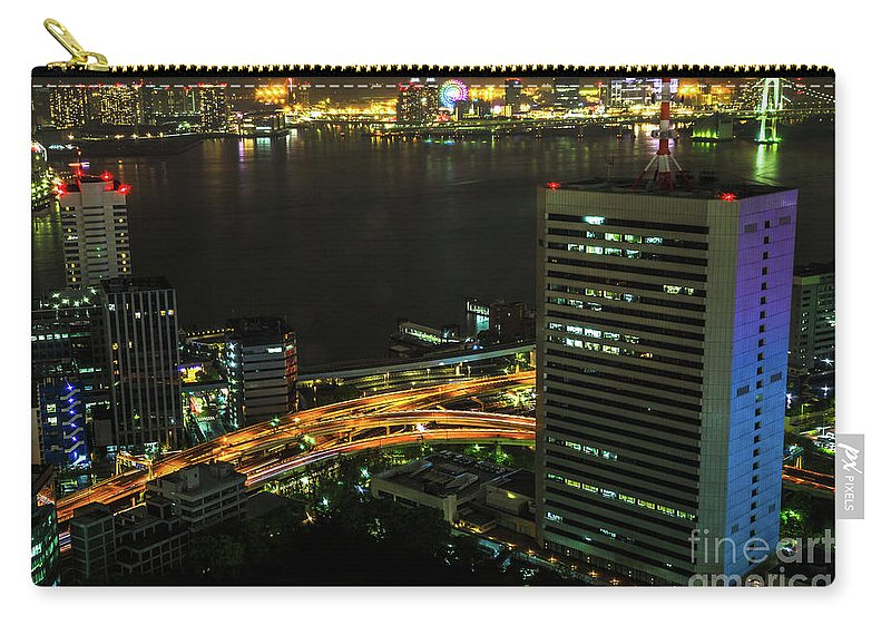 Tokyo Skyline Carry-all Pouch featuring the photograph Tokyo Bay Area Skyline by Benny Marty