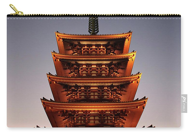 Tokyo Carry-all Pouch featuring the photograph Tokyo Temple Lights At Dusk by Carol Groenen