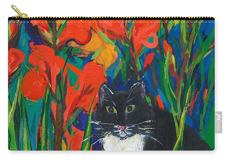 Cat Carry-all Pouch featuring the painting Tom And Gladioli by Sarah Gillard