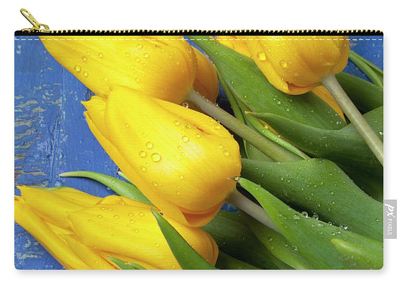 Tomato Food Flowers Tomatoes Carry-all Pouch featuring the photograph Tomato And Tulips by Garry Gay