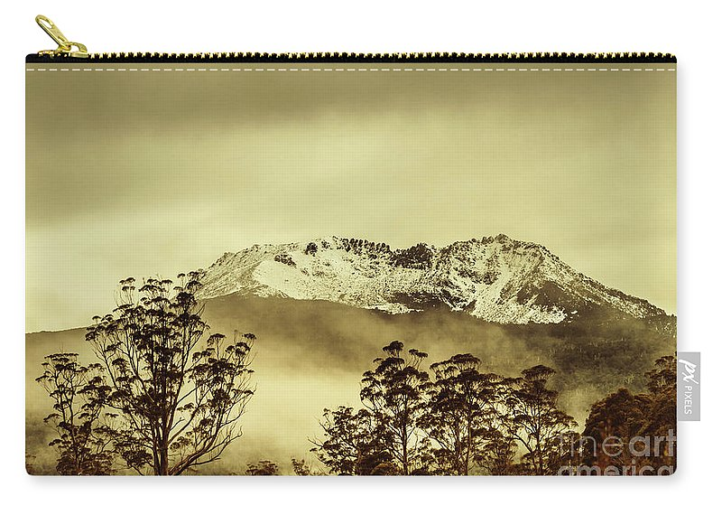 Vintage Carry-all Pouch featuring the photograph Toned View Of A Snowy Mount Gell, Tasmania by Jorgo Photography - Wall Art Gallery