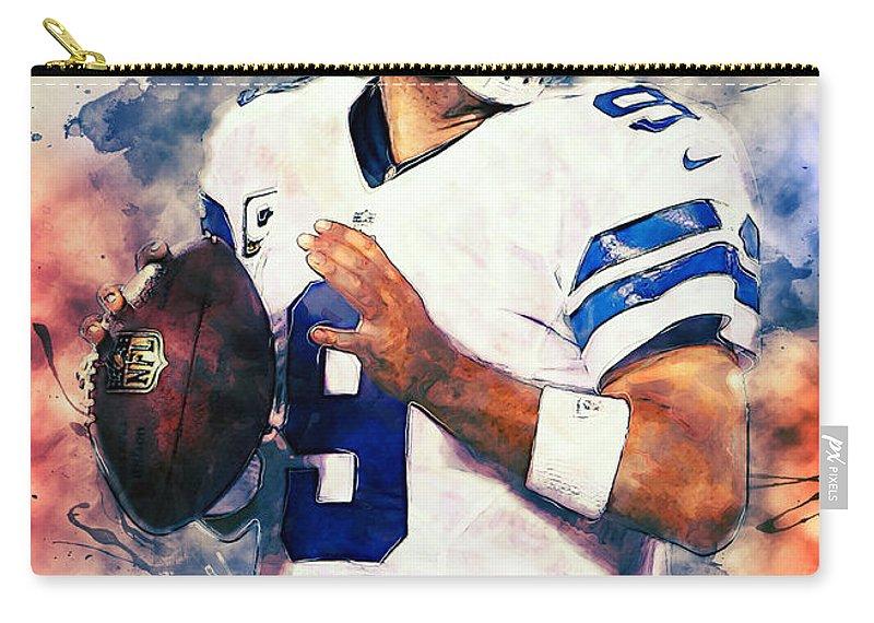 Tony Romo Carry-all Pouch featuring the digital art Tony Romo by Zapista Zapista