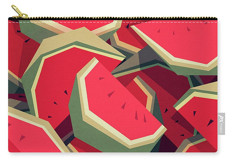 Watermelon Carry-all Pouch featuring the digital art Too Many Watermelons by Yetiland