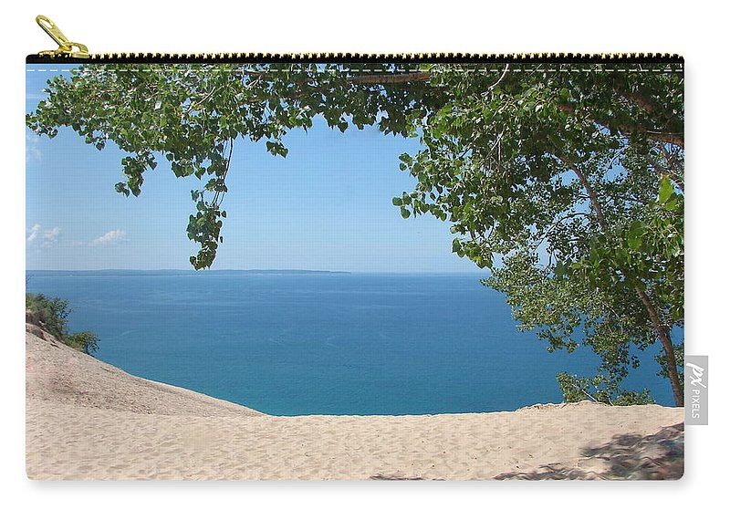 Sleeping Bear Dunes Carry-all Pouch featuring the photograph Top of the Dune at Sleeping Bear by Michelle Calkins