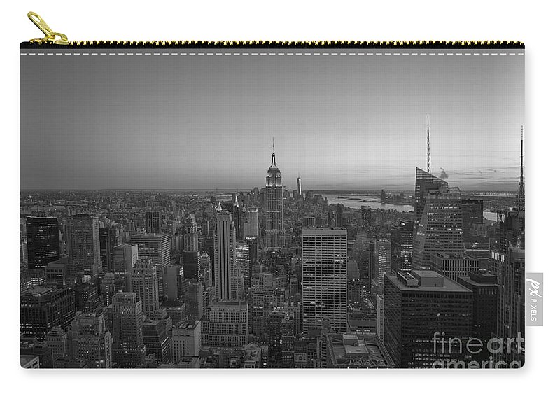 Nyc Sunset Carry-all Pouch featuring the photograph Top Of The Rock At Sunset Bw by Michael Ver Sprill