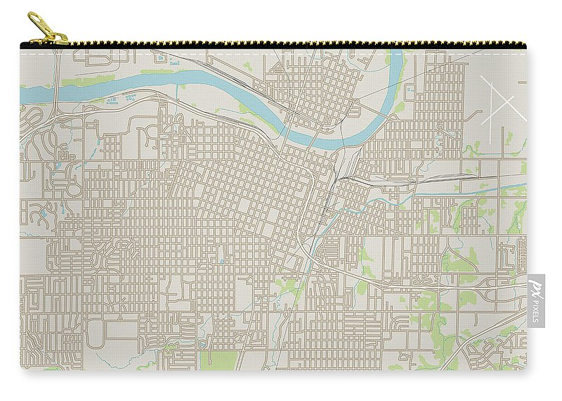 Topeka Carry-all Pouch featuring the digital art Topeka Kansas Us City Street Map by Frank Ramspott