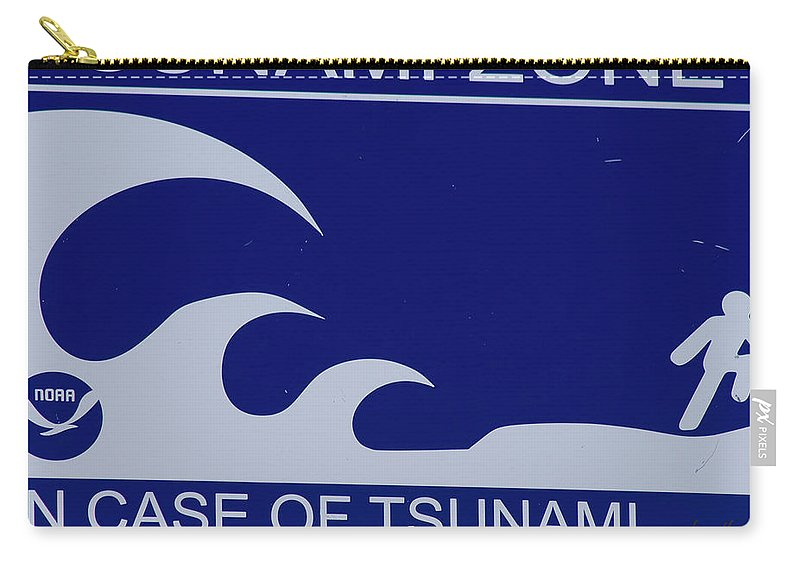 Tsunami Carry-all Pouch featuring the photograph Topsail Island's Tsunami Zone Sign by Betsy Knapp