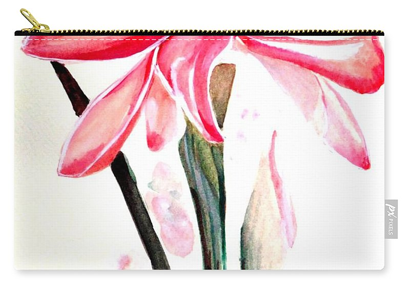 Pink Carry-all Pouch featuring the painting Torch Ginger Lily  2 by Karin Dawn Kelshall- Best