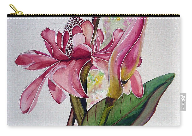 Flower Painting Floral Painting Botanical Painting Flowering Ginger. Carry-all Pouch featuring the painting Torch Ginger Lily by Karin Dawn Kelshall- Best