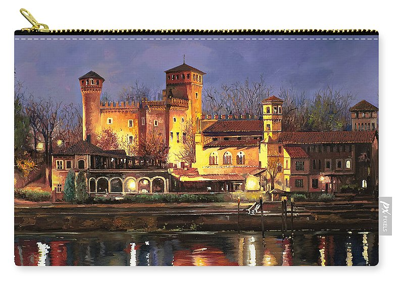 Castle Carry-all Pouch featuring the painting Torino-il Borgo Medioevale Di Notte by Guido Borelli