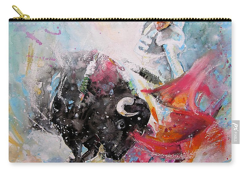 Animals Carry-all Pouch featuring the painting Toro Tempest by Miki De Goodaboom