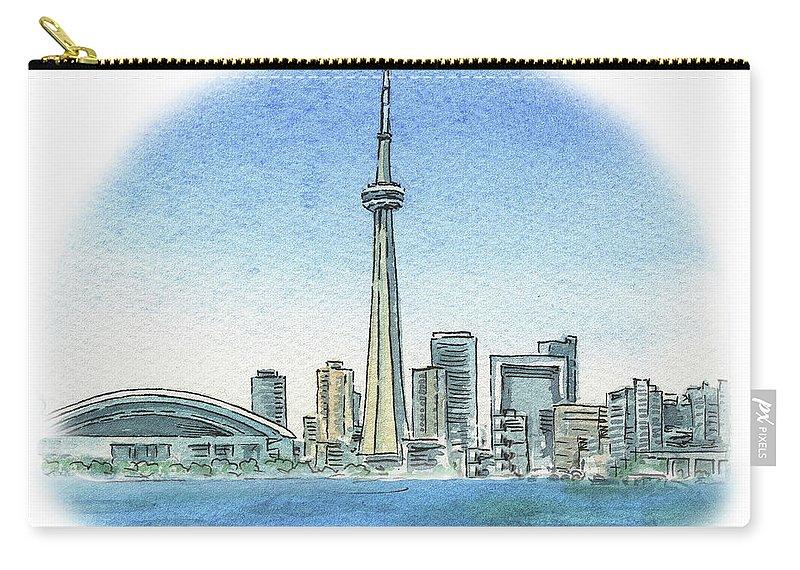 Toronto Carry-all Pouch featuring the painting Toronto Canada City Skyline by Irina Sztukowski