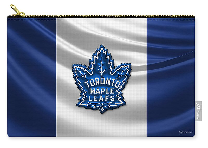 Hockey Hall Of Fame 3d By Serge Averbukh Carry-all Pouch featuring the photograph Toronto Maple Leafs - 3D Badge over Flag by Serge Averbukh
