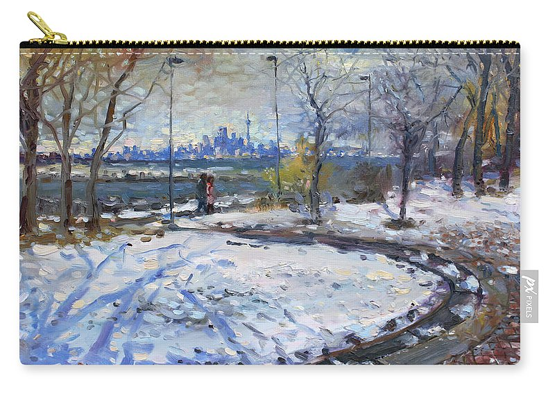 Toronto Skyline Carry-all Pouch featuring the painting Toronto Skyline by Ylli Haruni