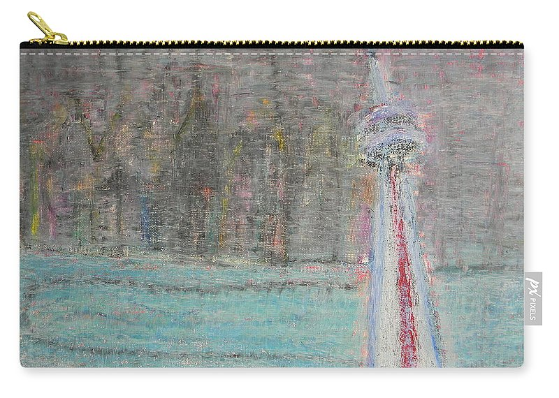 Toronto Carry-all Pouch featuring the painting Toronto The Confused by Marwan George Khoury