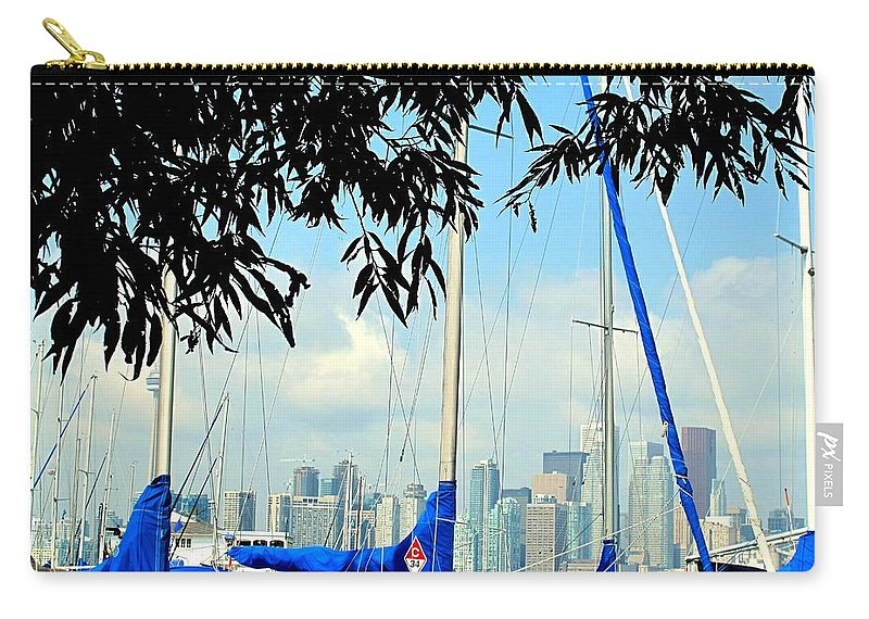 Toronto Carry-all Pouch featuring the photograph Toronto Through A Forest Of Masts by Ian MacDonald