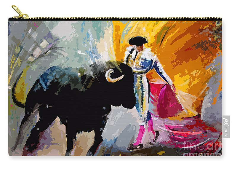 Toros Carry-all Pouch featuring the mixed media Toroscape 03 by Miki De Goodaboom