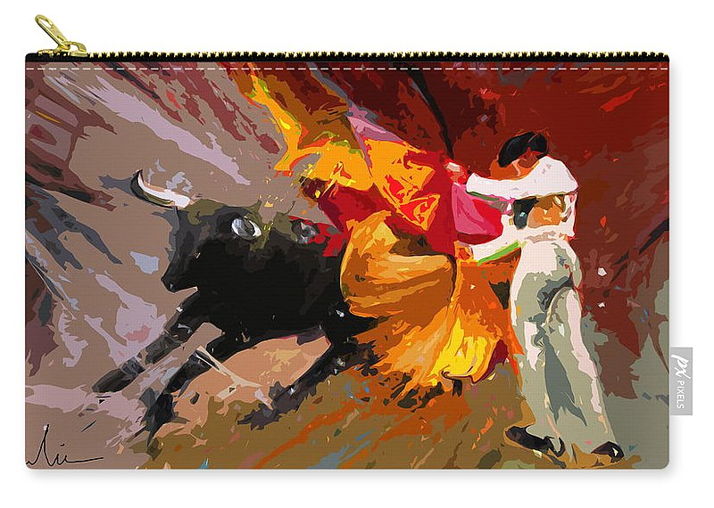 Animals Carry-all Pouch featuring the painting Toroscape 04 by Miki De Goodaboom