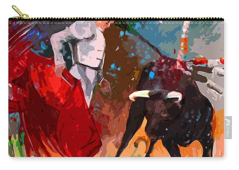 Bullfight Carry-all Pouch featuring the painting Toroscape 05 by Miki De Goodaboom