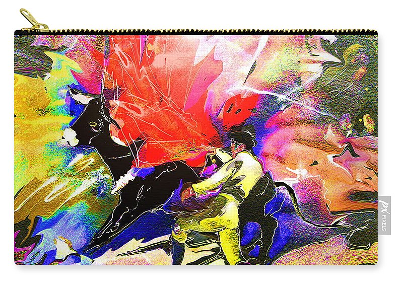 Animals Carry-all Pouch featuring the painting Toroscape 06 by Miki De Goodaboom