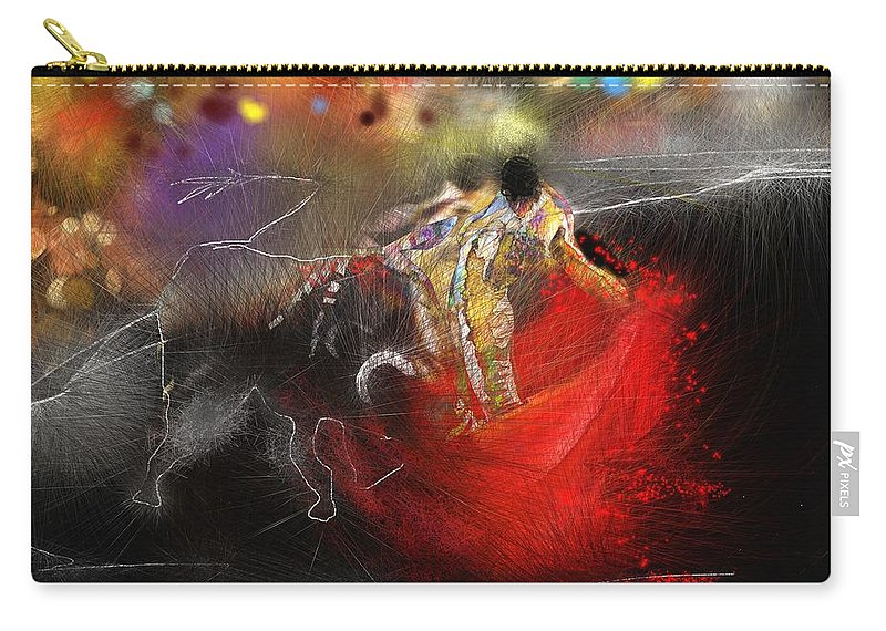 Animals Carry-all Pouch featuring the painting Toroscape 18 by Miki De Goodaboom