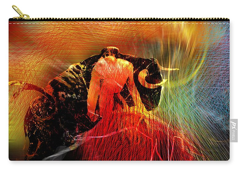 Toros Carry-all Pouch featuring the painting Toroscape 19 by Miki De Goodaboom