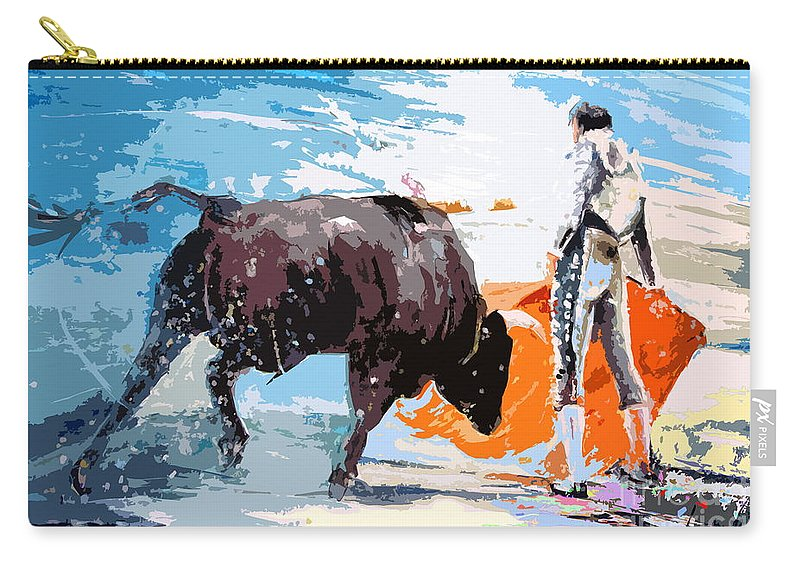 Bullfight Carry-all Pouch featuring the painting Toroscape 37 by Miki De Goodaboom