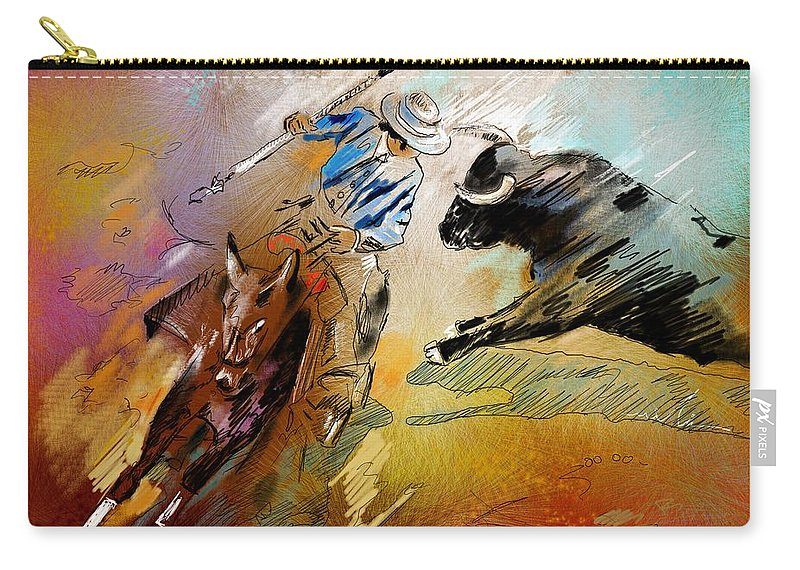Bullfight Carry-all Pouch featuring the painting Toroscape 42 by Miki De Goodaboom