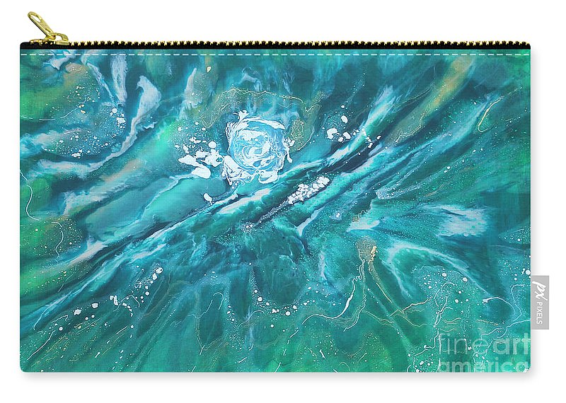Blue Carry-all Pouch featuring the painting Torrent by D Vane