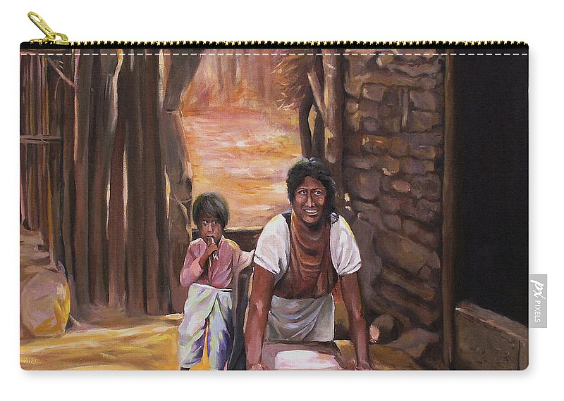 Mexican Carry-all Pouch featuring the painting Tortillas De Madre by Nancy Griswold