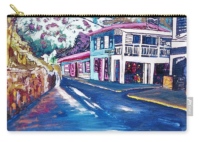 Main Street Carry-all Pouch featuring the painting Tortola Main Street by Andre Francis