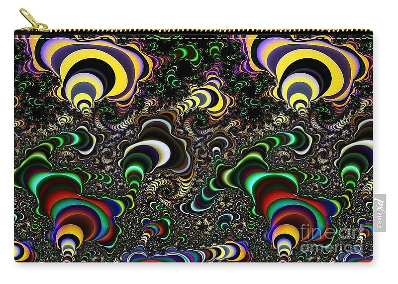 Torus Carry-all Pouch featuring the digital art Torus Spirals by Ron Bissett