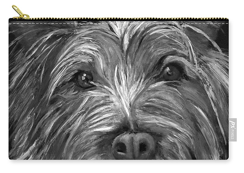 Dogs Carry-all Pouch featuring the painting Tosha The Highland Terrier by Portraits By NC