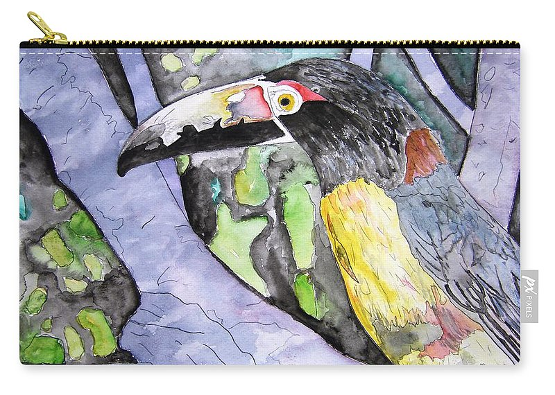 Touccan Carry-all Pouch featuring the painting Toucan Bird Tropical Painting Fine Modern Art Print by Derek Mccrea