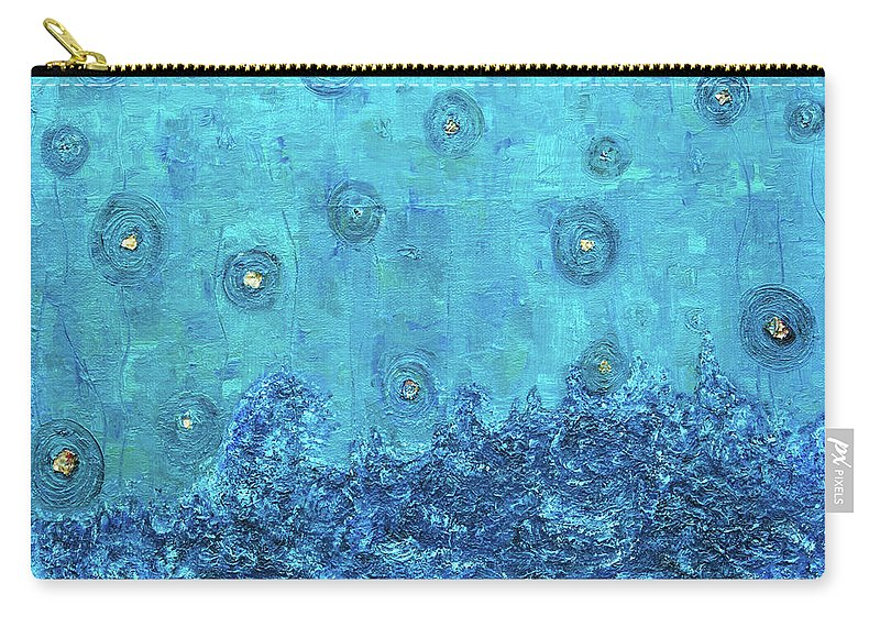 Blue Carry-all Pouch featuring the painting Touch Of Light by Ishwar Malleret