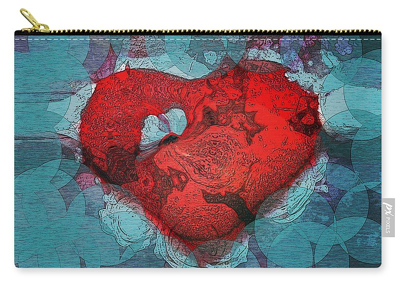 Abstract Art Carry-all Pouch featuring the digital art Tough Love by Linda Sannuti
