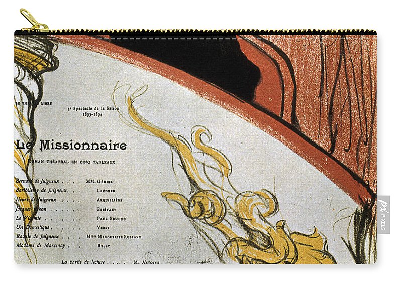 1893 Carry-all Pouch featuring the photograph Toulouse-lautrec, 1893 by Granger
