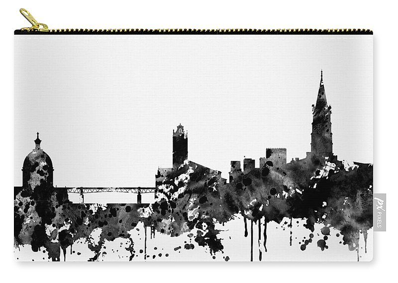 Toulouse Skyline Carry-all Pouch featuring the digital art Toulouse Skyline-black by Erzebet S