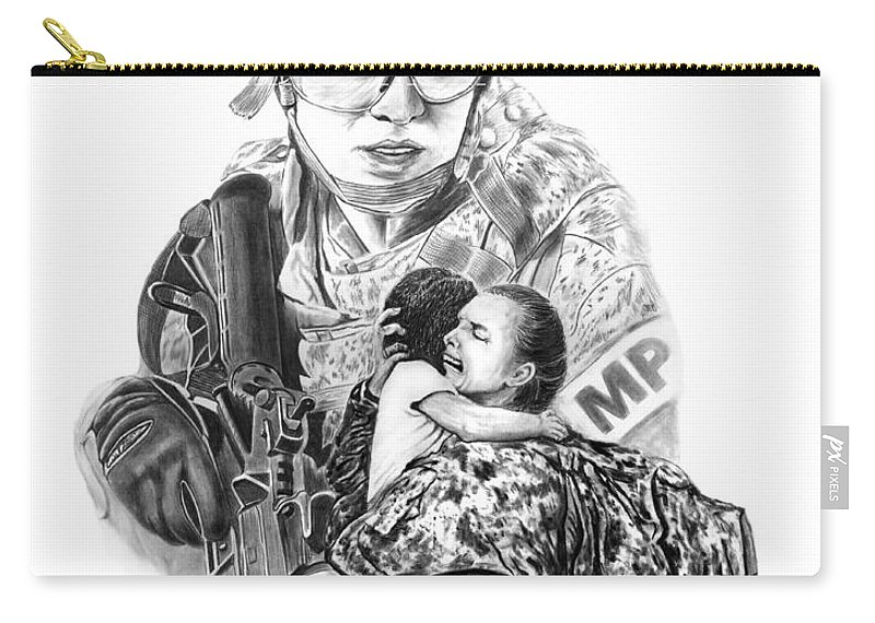 Tour Of Duty - Women In Combat Carry-all Pouch featuring the drawing Tour Of Duty - Women In Combat Le by Peter Piatt