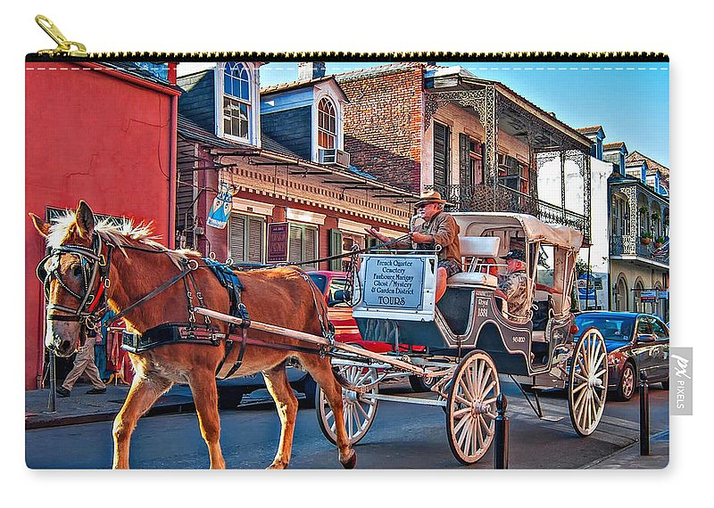 French Quarter Carry-all Pouch featuring the photograph Touring The French Quarter by Steve Harrington