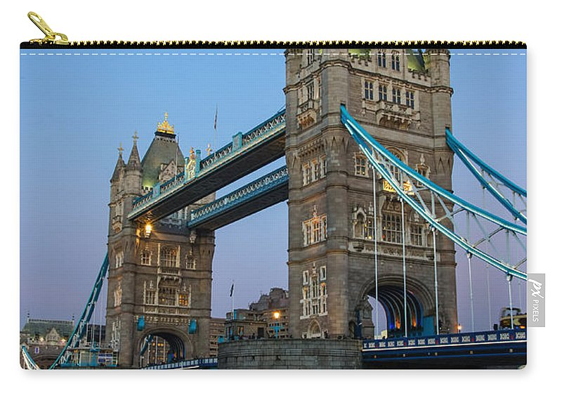 Britain British England English Uk Europe European Scene Twilight Night View Panoramic Cityscape Travel Tourism Monument Historic Icon Iconic Famous Popular Capital City Urban Landmark Attraction Destination Sightseeing Architecture River Building Landmarks Light Lights Blue Color Colour Clear River London Tower Bridge Thames Dusk Sunset Skyline Sky Carry-all Pouch featuring the photograph Tower Bridge 5 by Marcin Rogozinski